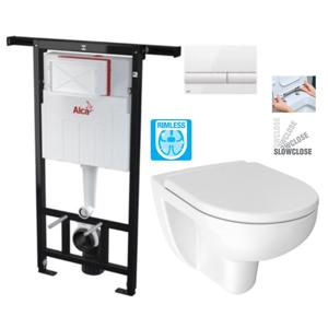 ALCAPLAST Jádromodul - předstěnový instalační systém s bílým tlačítkem M1710 + WC JIKA LYRA PLUS RIMLESS + SEDÁTKO DURAPLAST SLOWCLOSE (AM102/1120 M1710 LY2)