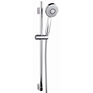 CERSANIT - Sprchová súprava s tyčou a posuvným držiakom NANO, 5 funkčný, priemer ručnej sprchy 10cm, kovová hadica dlhá 200cm, kovová tyč 80cm s posuvným držiakom a montážnou sadou (S951-019)