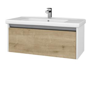 Dřevojas Dřevojas - Koupelnová skříň BONO SZZ 100 (umyvadlo Harmonia) - N01 Bílá lesk / D09 Arlington (204198)