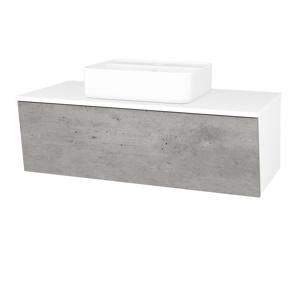 Dřevojas Dřevojas - Koupelnová skříň INVENCE SZZ 100 (umyvadlo Joy 2) - N01 Bílá lesk / D01 Beton (182748)