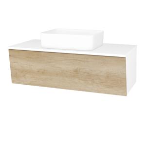 Dřevojas Dřevojas - Koupelnová skříň INVENCE SZZ 100 (umyvadlo Joy) - N01 Bílá lesk / D15 Nebraska (182267)