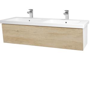 Dřevojas Dřevojas - Koupelnová skříň INVENCE SZZ 125 (dvojumyvadlo Harmonia) - N01 Bílá lesk / D15 Nebraska (184377)