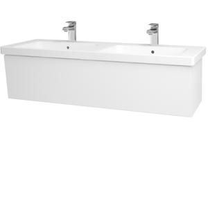 Dřevojas Dřevojas - Koupelnová skříň INVENCE SZZ 125 (dvojumyvadlo Harmonia) - N01 Bílá lesk / L01 Bílá vysoký lesk (184414)