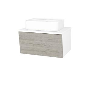 Dřevojas Dřevojas - Koupelnová skříň INVENCE SZZ 65 (umyvadlo Joy 2) - N01 Bílá lesk / D05 Oregon (177409)