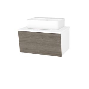 Dřevojas Dřevojas - Koupelnová skříň INVENCE SZZ 65 (umyvadlo Joy 3) - N01 Bílá lesk / D03 Cafe (177966)
