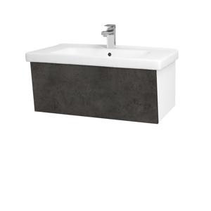 Dřevojas Dřevojas - Koupelnová skříň INVENCE SZZ 80 (umyvadlo Harmonia) - N01 Bílá lesk / D16 Beton tmavý (178987)