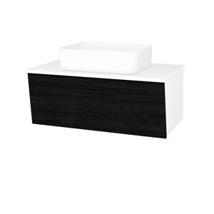 Dřevojas Dřevojas - Koupelnová skříň INVENCE SZZ 80 (umyvadlo Joy) - N01 Bílá lesk / D14 Basalt (179533)