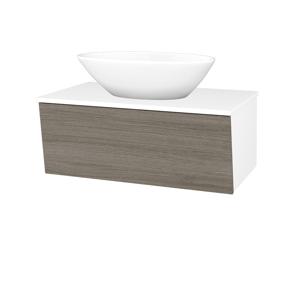 Dřevojas Dřevojas - Koupelnová skříň INVENCE SZZ 80 (umyvadlo Triumph) - N01 Bílá lesk / D03 Cafe (181604)