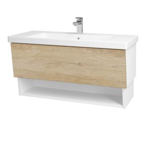 Dřevojas Dřevojas - Koupelnová skříň INVENCE SZZO 100 (umyvadlo Harmonia) - N01 Bílá lesk / D15 Nebraska (180256)