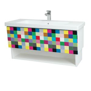 Dřevojas Dřevojas - Koupelnová skříň INVENCE SZZO 100 (umyvadlo Harmonia) - N01 Bílá lesk / IND Individual (147570)