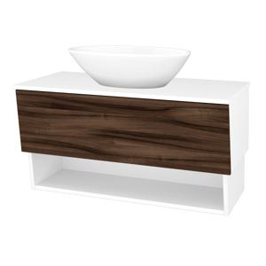 Dřevojas Dřevojas - Koupelnová skříň INVENCE SZZO 100 (umyvadlo Triumph) - N01 Bílá lesk / D06 Ořech (183660)