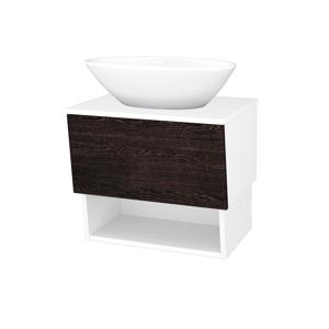 Dřevojas Dřevojas - Koupelnová skříň INVENCE SZZO 65 (umyvadlo Triumph) - N01 Bílá lesk / D08 Wenge (178291)