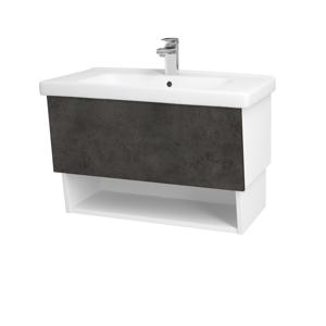 Dřevojas Dřevojas - Koupelnová skříň INVENCE SZZO 80 (umyvadlo Harmonia) - N01 Bílá lesk / D16 Beton tmavý (178734)