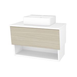 Dřevojas Dřevojas - Koupelnová skříň INVENCE SZZO 80 (umyvadlo Joy 3) - N01 Bílá lesk / D04 Dub (180744)