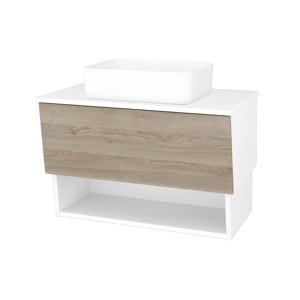 Dřevojas Dřevojas - Koupelnová skříň INVENCE SZZO 80 (umyvadlo Joy) - N01 Bílá lesk / D17 Colorado (179168)