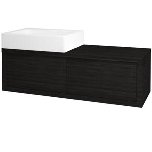 Dřevojas Dřevojas - Koupelnová skříň STORM SZZ2 120 (umyvadlo Kube) - D14 Basalt / D14 Basalt / Pravé (170349P)