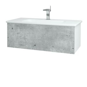 Dřevojas Dřevojas - Koupelnová skříň VARIANTE SZZ 100 (umyvadlo Euphoria) - N01 Bílá lesk / D01 Beton (160456)