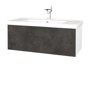 Dřevojas Dřevojas - Koupelnová skříň VARIANTE SZZ 100 (umyvadlo Harmonia) - N01 Bílá lesk / D16 Beton tmavý (192839)