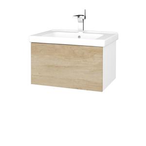 Dřevojas Dřevojas - Koupelnová skříň VARIANTE SZZ 65 (umyvadlo Harmonia) - N01 Bílá lesk / D15 Nebraska (191030)