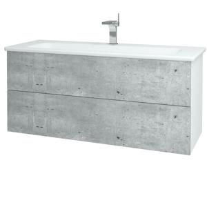 Dřevojas Dřevojas - Koupelnová skříň VARIANTE SZZ2 120 (umyvadlo Euphoria) - N01 Bílá lesk / D16 Beton tmavý (190637)