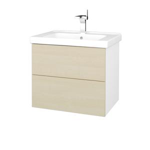 Dřevojas Dřevojas - Koupelnová skříň VARIANTE SZZ2 65 (umyvadlo Harmonia) - N01 Bílá lesk / D02 Bříza (191399)