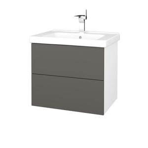 Dřevojas Dřevojas - Koupelnová skříň VARIANTE SZZ2 65 (umyvadlo Harmonia) - N01 Bílá lesk / N06 Lava (191580)