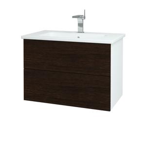 Dřevojas Dřevojas - Koupelnová skříň VARIANTE SZZ2 80 (umyvadlo Euphoria) - N01 Bílá lesk / D08 Wenge (160210)