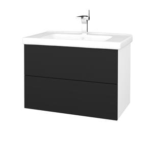 Dřevojas Dřevojas - Koupelnová skříň VARIANTE SZZ2 80 (umyvadlo Harmonia) - N01 Bílá lesk / L03 Antracit vysoký lesk (192433)