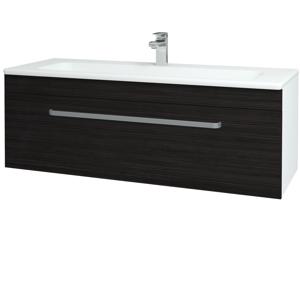 Dřevojas - Koupelnová skříň ASTON SZZ 120 - N01 Bílá lesk / Úchytka T01 / D14 Basalt (146825A)