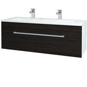 Dřevojas - Koupelnová skříň ASTON SZZ 120 - N01 Bílá lesk / Úchytka T03 / D14 Basalt (146825CU)