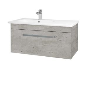 Dřevojas - Koupelnová skříň ASTON SZZ 90 - N01 Bílá lesk / Úchytka T02 / M05 Béžová mat (199814B)