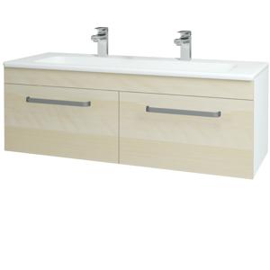 Dřevojas - Koupelnová skříň ASTON SZZ2 120 - N01 Bílá lesk / Úchytka T01 / D02 Bříza (131173AU)