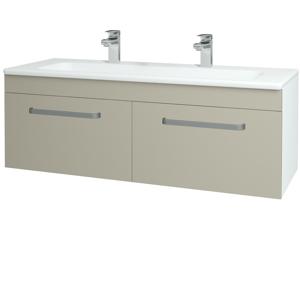 Dřevojas - Koupelnová skříň ASTON SZZ2 120 - N01 Bílá lesk / Úchytka T01 / L04 Béžová vysoký lesk (146894AU)