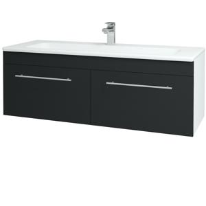 Dřevojas - Koupelnová skříň ASTON SZZ2 120 - N01 Bílá lesk / Úchytka T02 / L03 Antracit vysoký lesk (131616B)