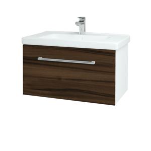 Dřevojas - Koupelnová skříň BIG INN SZZ 80 - N01 Bílá lesk / Úchytka T03 / D06 Ořech (132491C)