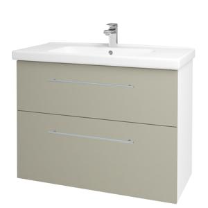Dřevojas - Koupelnová skříň BIG INN SZZ2 100 - N01 Bílá lesk / Úchytka T02 / M05 Béžová mat (200794B)