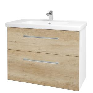 Dřevojas - Koupelnová skříň BIG INN SZZ2 100 - N01 Bílá lesk / Úchytka T03 / D15 Nebraska (174057C)