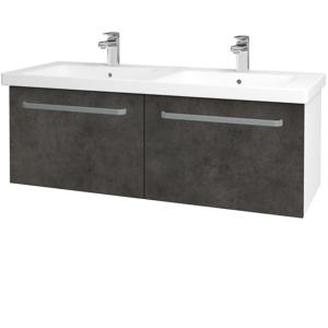 Dřevojas - Koupelnová skříň BIG INN SZZ2 125 - N01 Bílá lesk / Úchytka T01 / D16 Beton tmavý (201586A)