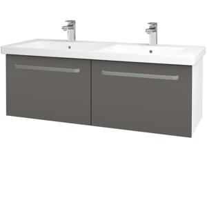 Dřevojas - Koupelnová skříň BIG INN SZZ2 125 - N01 Bílá lesk / Úchytka T01 / N06 Lava (201630A)