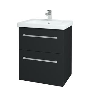 Dřevojas - Koupelnová skříň BIG INN SZZ2 65 - L03 Antracit vysoký lesk / Úchytka T03 / L03 Antracit vysoký lesk (121792C)