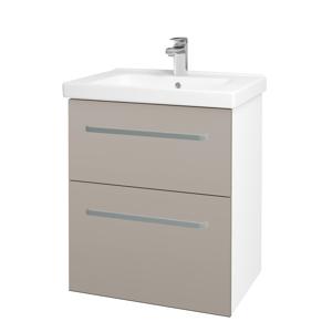 Dřevojas - Koupelnová skříň BIG INN SZZ2 65 - N01 Bílá lesk / Úchytka T01 / N07 Stone (149314A)