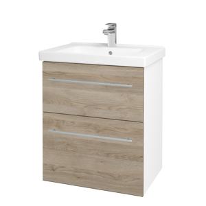 Dřevojas - Koupelnová skříň BIG INN SZZ2 65 - N01 Bílá lesk / Úchytka T02 / D17 Colorado (200435B)