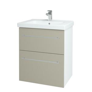 Dřevojas - Koupelnová skříň BIG INN SZZ2 65 - N01 Bílá lesk / Úchytka T02 / L04 Béžová vysoký lesk (121655B)