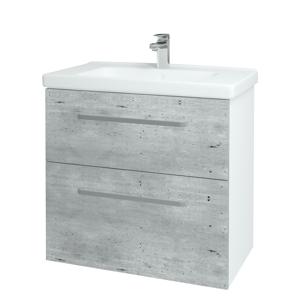 Dřevojas - Koupelnová skříň BIG INN SZZ2 80 - N01 Bílá lesk / Úchytka T01 / D01 Beton (121839A)
