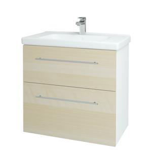 Dřevojas - Koupelnová skříň BIG INN SZZ2 80 - N01 Bílá lesk / Úchytka T02 / D02 Bříza (132873B)