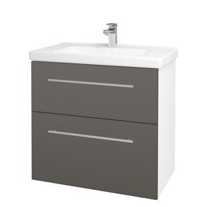 Dřevojas - Koupelnová skříň BIG INN SZZ2 80 - N01 Bílá lesk / Úchytka T02 / N06 Lava (200640B)