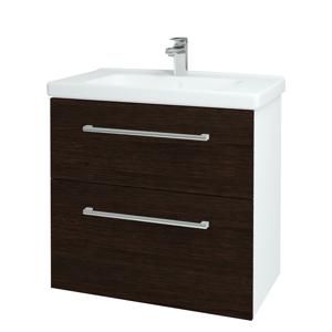 Dřevojas - Koupelnová skříň BIG INN SZZ2 80 - N01 Bílá lesk / Úchytka T03 / D08 Wenge (132927C)