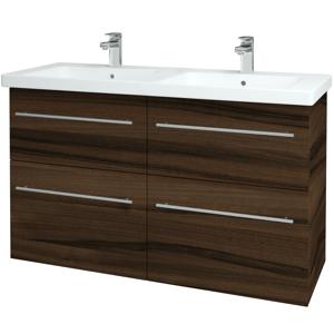 Dřevojas - Koupelnová skříň BIG INN SZZ4 125 - D06 Ořech / Úchytka T02 / D06 Ořech (27806B)