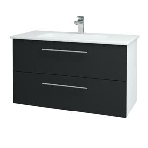 Dřevojas - Koupelnová skříň GIO SZZ2 100 - N01 Bílá lesk / Úchytka T02 / L03 Antracit vysoký lesk (130763B)