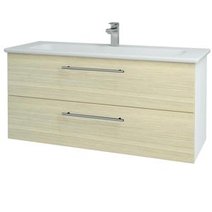 Dřevojas - Koupelnová skříň GIO SZZ2 120 - N01 Bílá lesk / Úchytka T02 / D04 Dub (129927B)